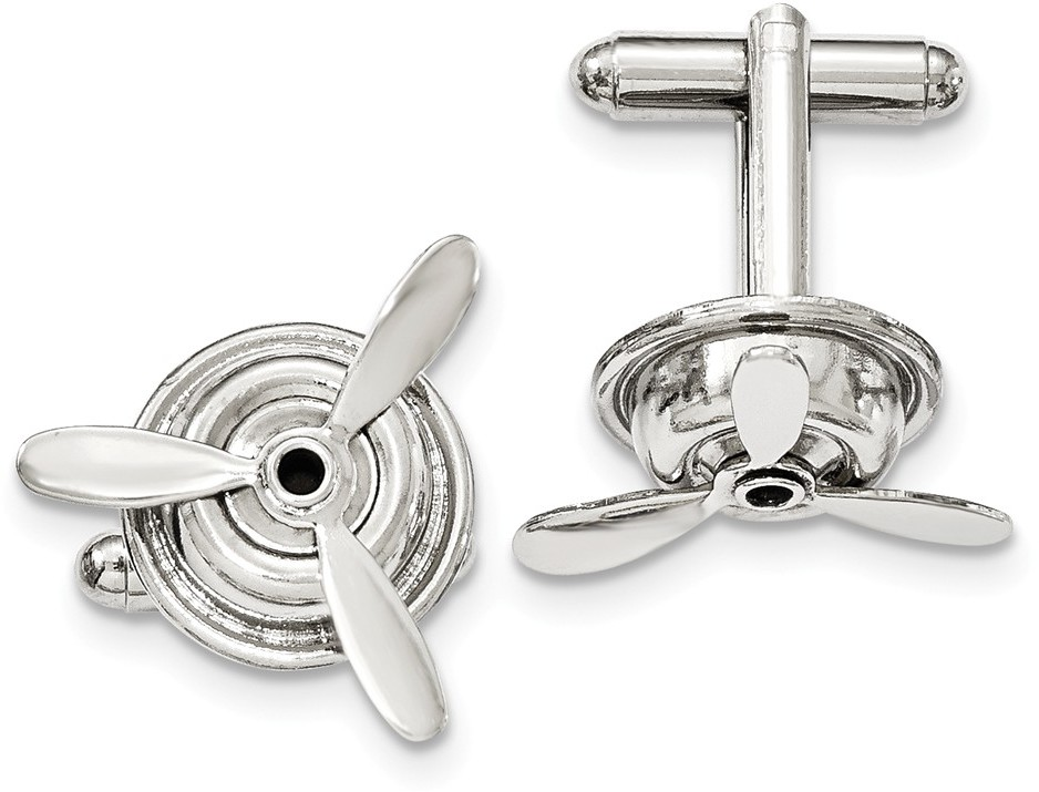 1928 Jewelry - Silver-tone Polished Moveable Propeller Cuff Links
