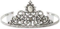1928 Jewelry - Silver-tone Simulated Pearl & Black & Clear Crystal Wedding Tiara
