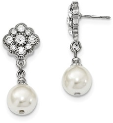1928 Jewelry - Silver-tone Simulated Pearl & Crystals Dangle Earrings