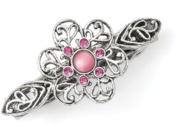 1928 Jewelry - Silver-tone Pink Cabochon & Crystal Flower Barrette