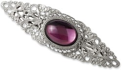 1928 Jewelry - Silver-tone Purple Cabochon Crystal Barrette