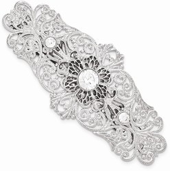 1928 Jewelry - Silver-tone White Crystal Filigree Large Barrette