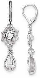 1928 Jewelry - Silver-tone White Crystal Flower Leverback Earrings