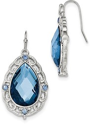 1928 Jewelry - Silver-tone Blue Epoxy & Glass Teardrop Dangle Earrings