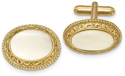 1928 Jewelry - Gold-tone Mother of Pearl Cuff Links