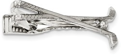 1928 Jewelry - Silver-tone Polished Golf Clubs Tie Bar