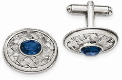 1928 Jewelry - Silver-tone Blue Crystal Textured Oval Cuff Links