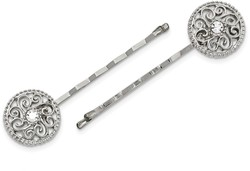1928 Jewelry - Silver-tone Crystal Bobby Pin Set
