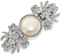 1928 Jewelry - Silver-tone Simulated Pearl Hair Barrette