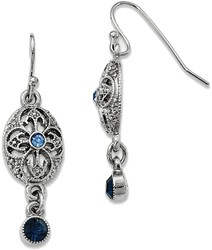 1928 Jewelry - Silver-tone Blue Crystal Dangle Hook Earrings