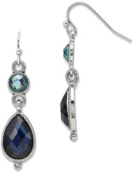 1928 Jewelry - Silver-tone Blue Crystal Dangle Shepherds Hook Earrings