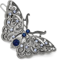 1928 Jewelry - Silver-tone Blue Crystal Butterfly Hair Barrette