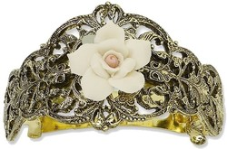 1928 Jewelry - Gold-tone Porcelain Rose Ponytail Holder