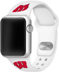 Wisconsin Badgers Silicone Watch Band Compatible with Apple Watch - 42mm/44mm White