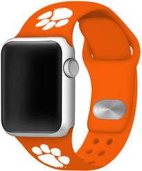 Clemson Tigers Silicone Watch Band Compatible with Apple Watch - 42mm/44mm Orange
