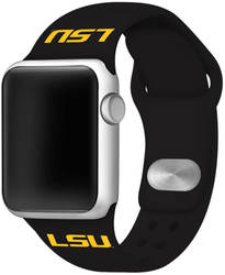 LSU Tigers Silicone Watch Band Compatible with Apple Watch - 42mm/44mm Black