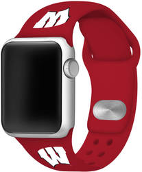 Wisconsin Badgers Silicone Watch Band Compatible with Apple Watch - 38mm/40mm Crimson Red