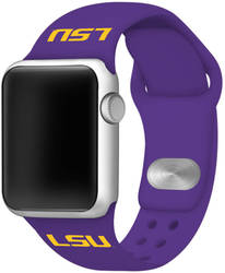 LSU Tigers Silicone Watch Band Compatible with Apple Watch - 38mm/40mm Purple