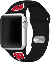 Wisconsin Badgers Silicone Watch Band Compatible with Apple Watch - 42mm/44mm Black