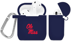 Mississippi Rebels Silicone Case Cover Compatible with Apple AirPods Battery Case - Navy Blue
