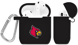 Louisville Cardinals Silicone Case Cover Compatible with Apple AirPods Battery Case - Black