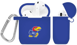 Kansas Jayhawks Silicone Case Cover Compatible with Apple AirPods Battery Case - Royal Blue