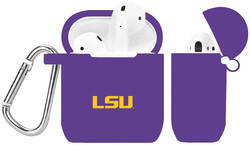 LSU Tigers Silicone Case Cover Compatible with Apple AirPods Battery Case - Purple