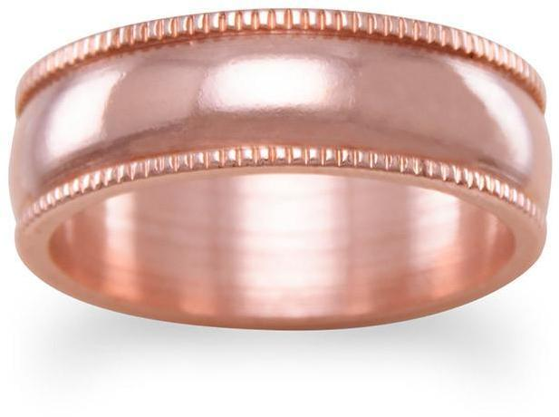 "6mm (1/4"") Solid Copper with Milgrain Design Ring"
