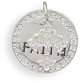 Faith Fashion Pendant with Crystal Edge and Crystal Heart Charm - LIMITED STOCK