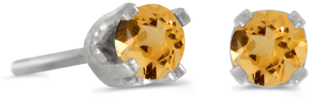 14k White Gold Round Citrine Stud Earrings (CM-E1420XW-11)