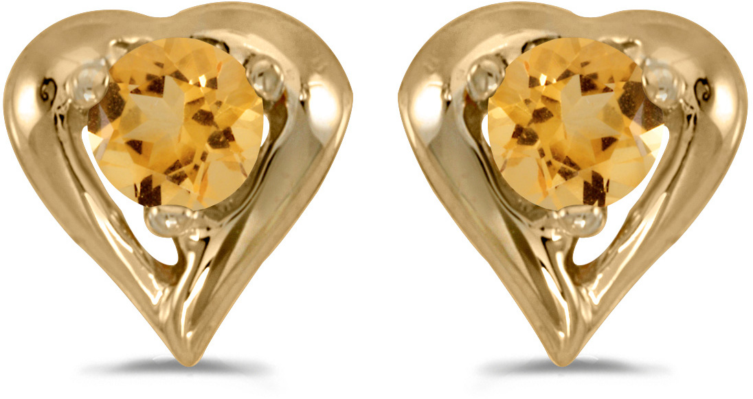 14k Yellow Gold Round Citrine Heart Earrings