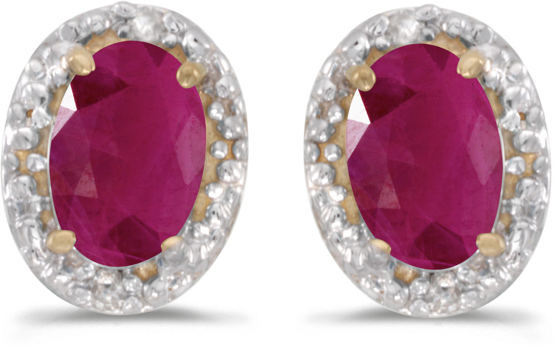 14k Yellow Gold Oval Ruby And Diamond Earrings (CM-E2615X-07)