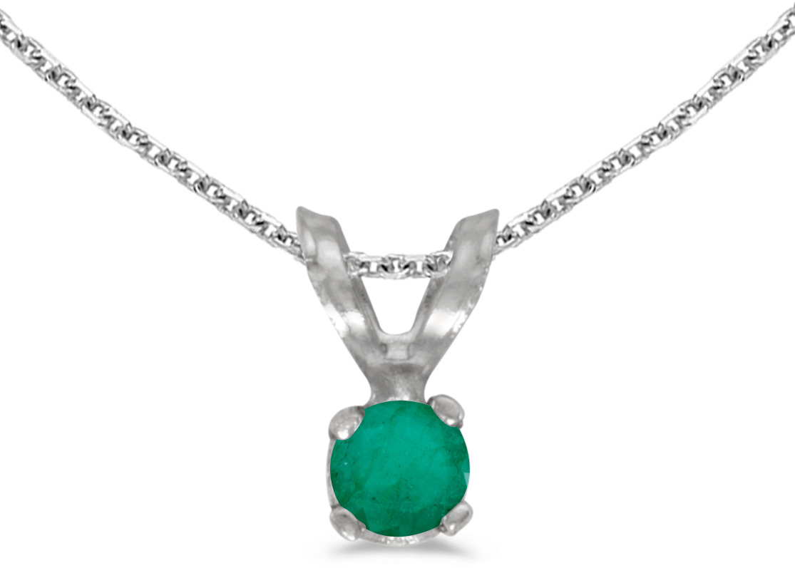 14k White Gold Round Emerald Pendant (Chain NOT included) (CM-P1418XW-05)