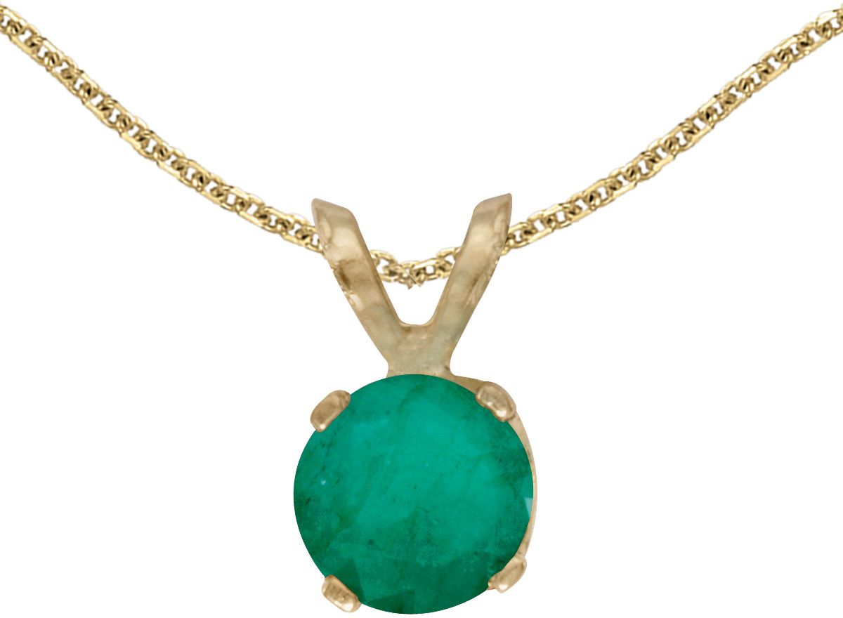 14k Yellow Gold Round Emerald Pendant (Chain NOT included)