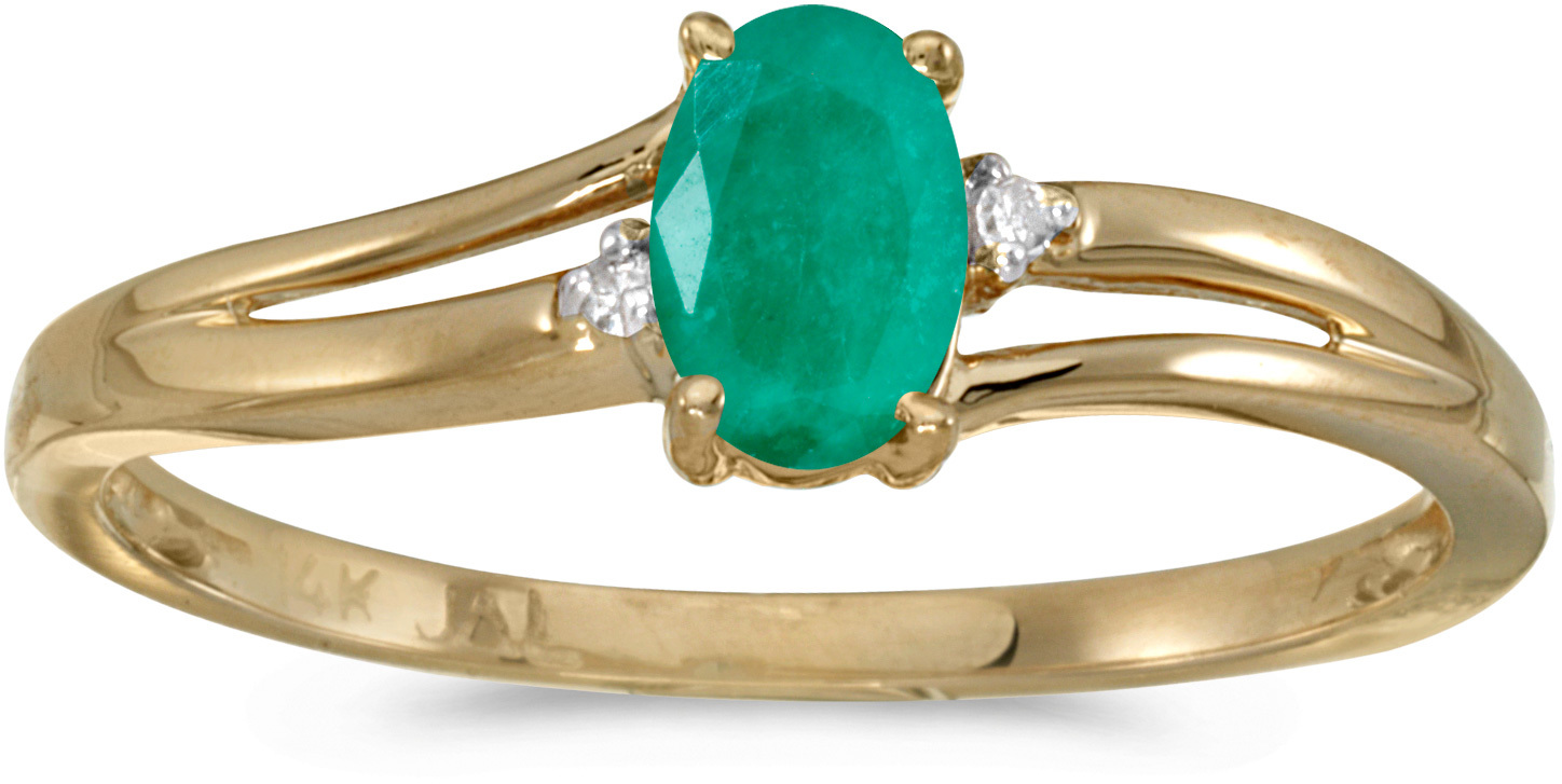 14k Yellow Gold Oval Emerald And Diamond Ring (CM-RM1992X-05)
