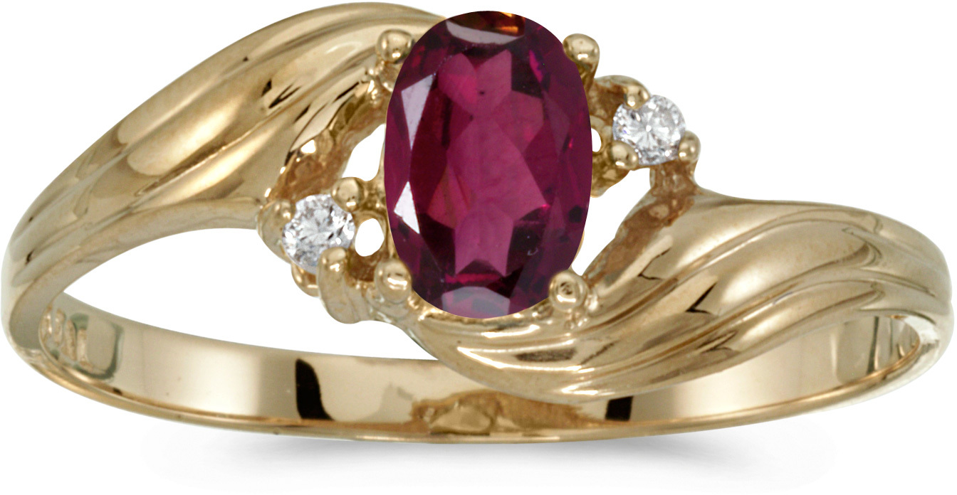 10k Yellow Gold Oval Rhodolite Garnet And Diamond Ring (CM-RM885-RG)
