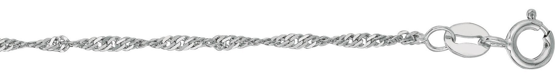 "9"" 10K White Gold 1.5mm (0.06"") Polished Diamond Cut Singapore Chain w/ Spring Ring Clasp"