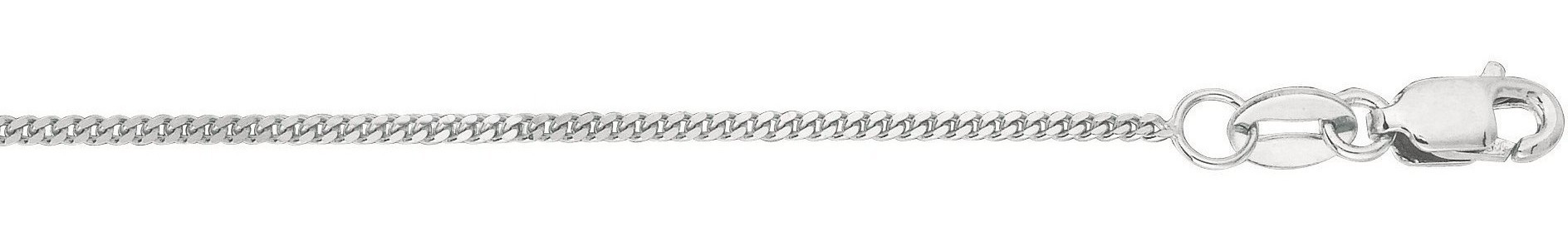 "16"" 10K White Gold 1.0mm (0.04"") Polished Diamond Cut Gourmette Chain w/ Lobster Clasp"