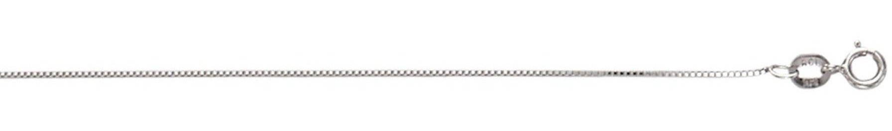 "16"" 10K White Gold 0.6mm (0.02"") Polished Box Chain w/ Spring Ring Clasp"