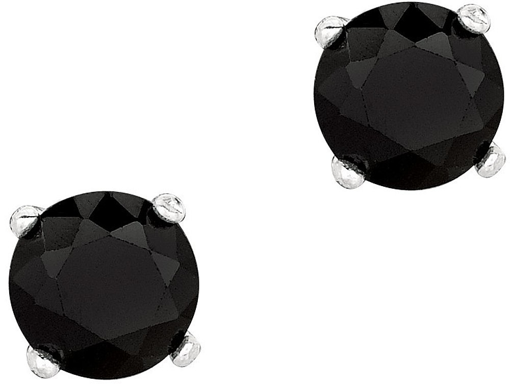 "Silver Rhodium Plated Shiny 6.0mm (1/4"") Round Black Cubic Zirconia (CZ) Stud Post Back Earrings"