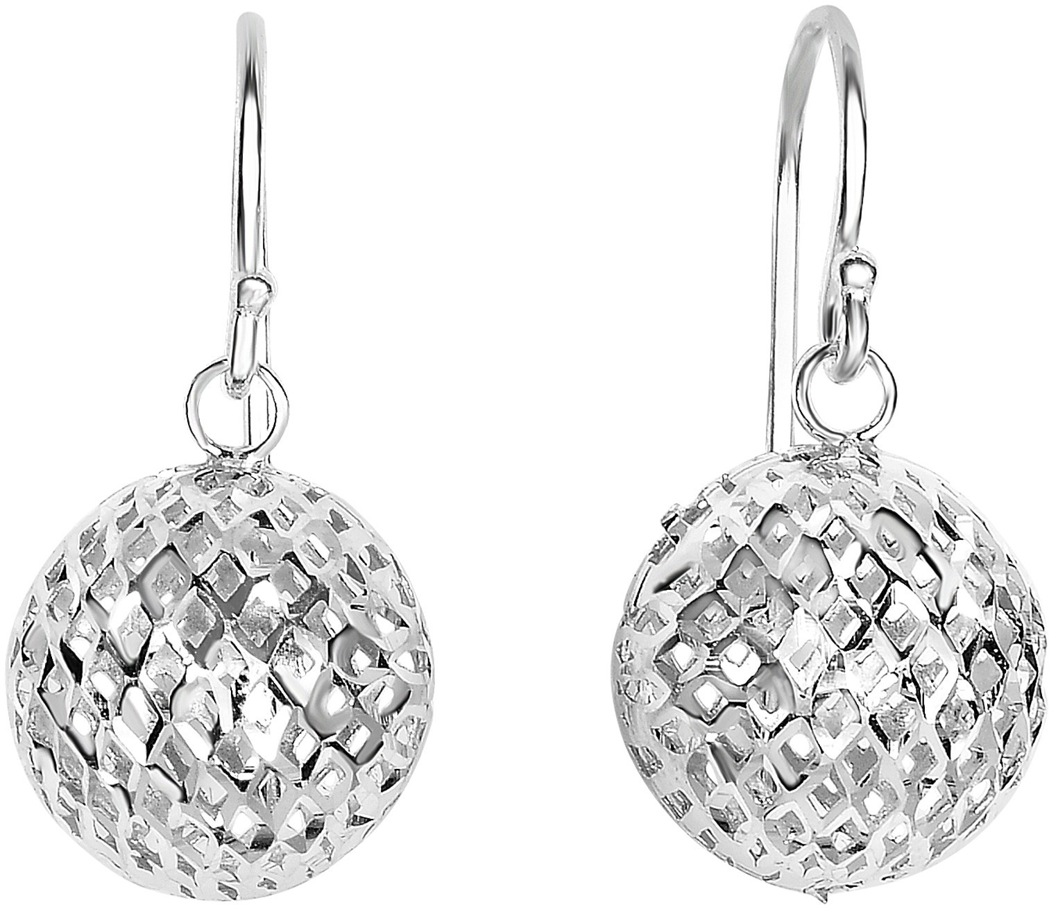 Silver Rhodium Plated Ball Mesh Drop Earrings