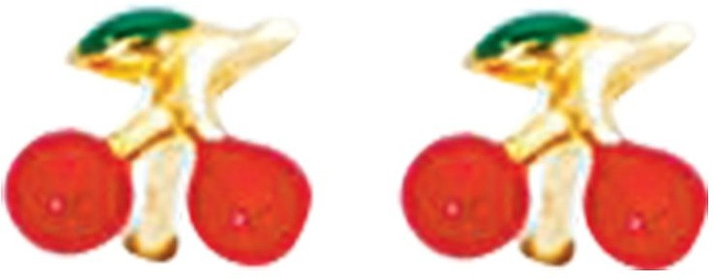 14K Yellow Gold w/ Red Green Yellow Cherry Like Children Earring