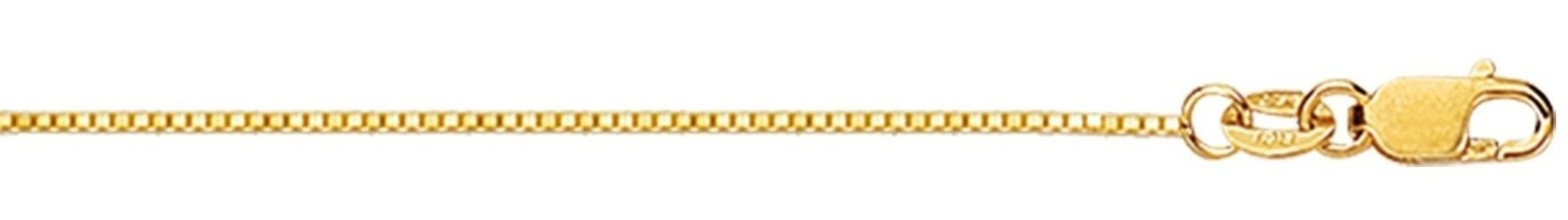 "16"" 18K Yellow Gold 0.6mm (0.02"") Polished Diamond Cut Box Chain w/ Lobster Clasp"