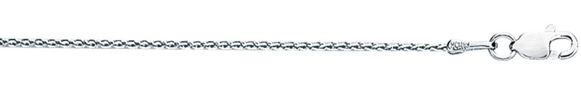 "18"" 18K White Gold 1.1mm (0.04"") Polished Diamond Cut Round Wheat Chain w/ Lobster Clasp"