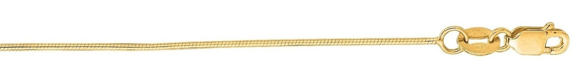 16 14K Yellow Gold 0.7mm (0.03) Polished Diamond Cut Round Snake Chain w/ Lobster Clasp