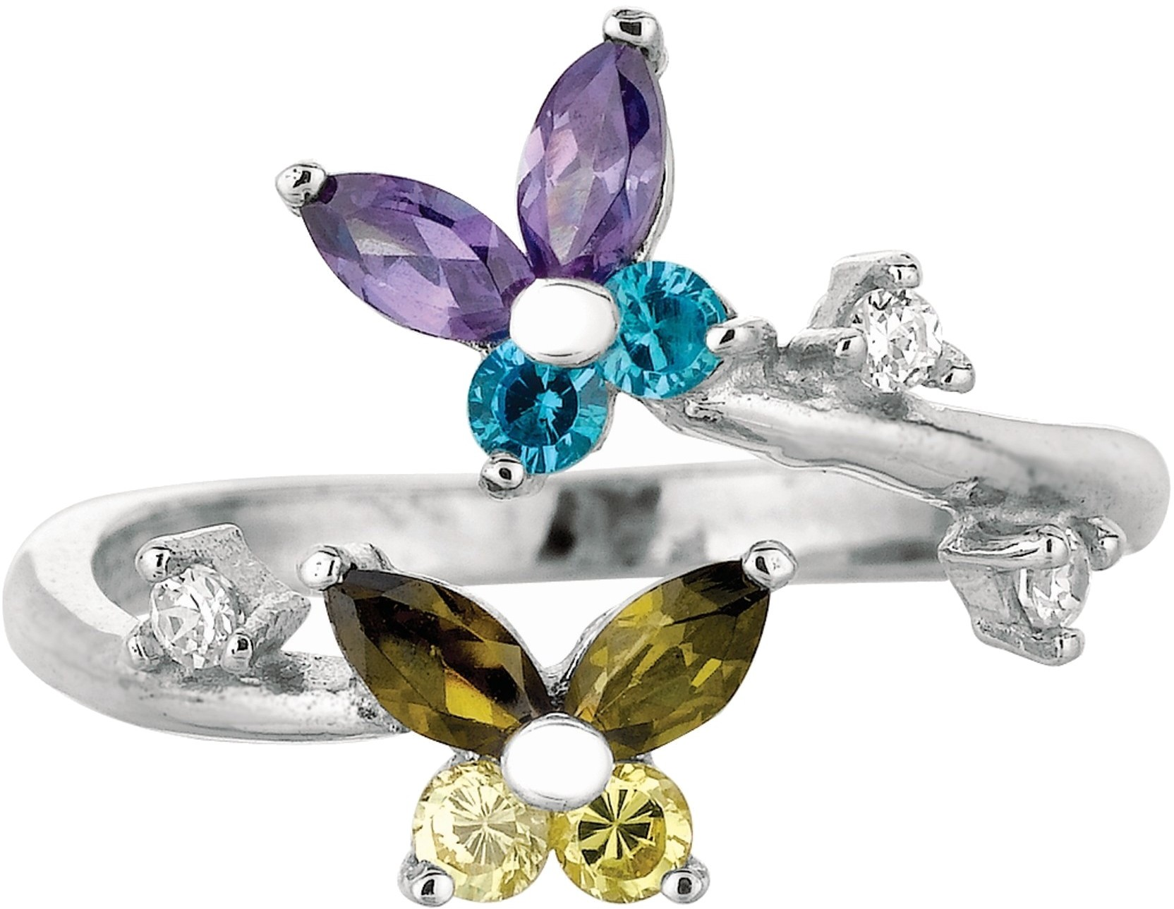 Silver Rhodium Plated Shiny 2-flower Top By Pass Like Toe Ring w/ White & Purple & Blue Cubic Zirconia (CZ)