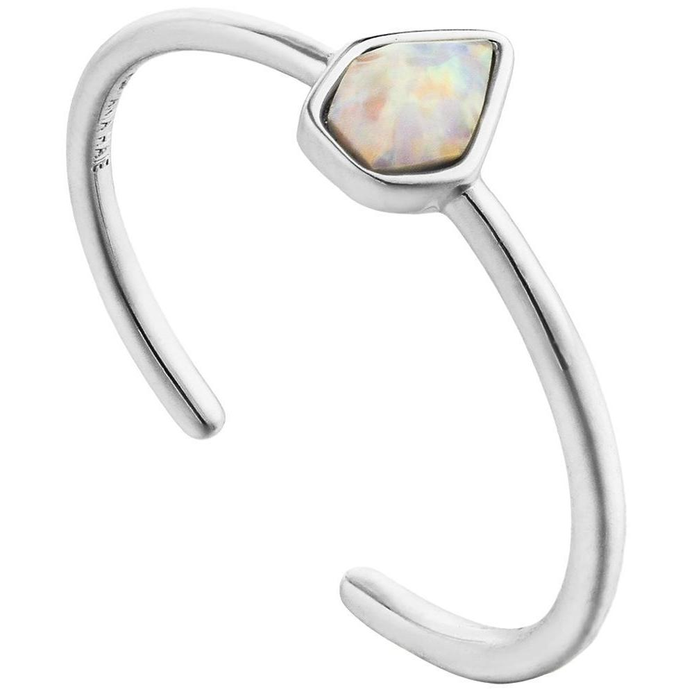 Ania Haie Rhodium-Plated Sterling Silver Simulated Opal Adjustable Ring