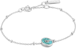 Ania Haie Rhodium-Plated Sterling Silver Simulated Turquoise Disc Bracelet