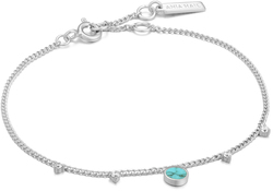 Ania Haie Rhodium-Plated Sterling Silver Simulated Turquoise Drop Disc Bracelet