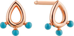Ania Haie Rose Gold-Plated Sterling Silver Dotted Raindrop Stud Earrings